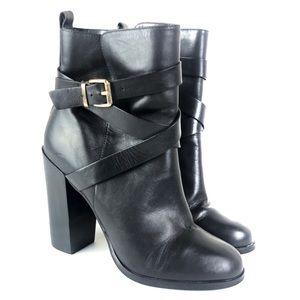 Aldo Leather Strap Biker Ankle Heeled Boot